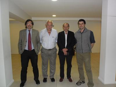 Diego Simonet, Luis Fernández, Francisco Cánepa y Rodrigo Fernández en un momento de la rueda de prensa realizada en Artigas.