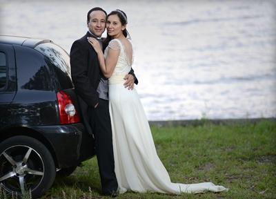 Eduardo Lagos - Angélica Bandera el día de su boda