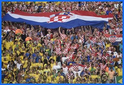 Brasileños y croatas compartieron las tribunas del Arena Corinthians.