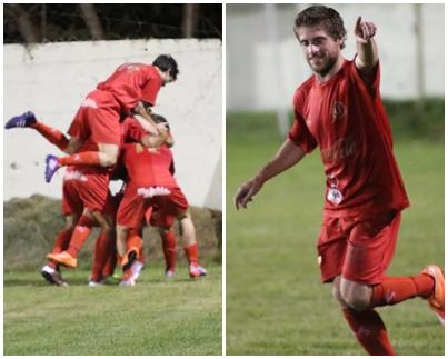 El momento de festejo del gol de Universitario ante Salto  Uruguay. A la derecha los rojos festejando y a la izquierda Diego Llama, el autor del gol  dedicándolo a la tribuna de los rojos.