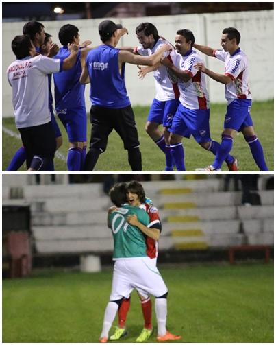 Arriba el equipo de Nacional al momento del festejo de uno de los goles y debajo vemos a Christian Cavani abrazado de Marcelo Malaquina también al momento del festejo del gol que le dio la victoria a Ceibal.