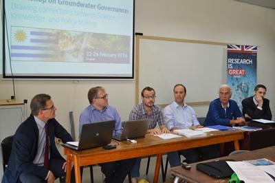UDELAR Workshop 1 - Mesa con expertos internacionales. Al centro el Profesor Pablo Gamazo en el acto de bienvenida de ayer