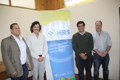 Dr. Marcos García, Director del Hospital, Dr. Gerardo Barrios, UNASEV; Dr. Luis Rodríguez y Dr. Federico Ernst