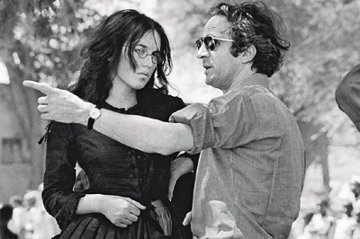 Con el director de L'Histoire d'Adele H., Francois Truffaut, en pleno rodaje, 1975