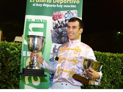 El jockey salteño Luis Cáceres se destacó la temporada pasada  en el Hipódromo de Maroñas logrando 87 victorias