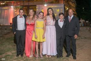 Bruno Batalla, Karina Lura, Giuliana Breventano, Camila, Michello y Gastón Breventano