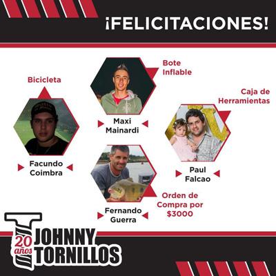imagen de los ganadores para inlcuir en la nota de Johnny Tornillos