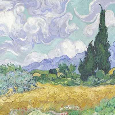 Campo de trigo con cipreses, 1889