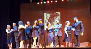 Talleristas en Teatro Larrañaga, el martes.
