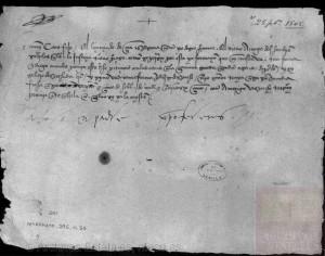 Carta de Colón a su hijo don Diego en la que le encarga, en obsequio del licenciado Cea, que procure en Semana Santa el perdón para dos reos
