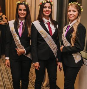 Paula Noboa Fernanda Bonini Sabrina Silveira. Soberanas de Miss Salto acompañado el día internacional de la mujer