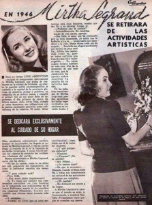 En 1946 Mirtha Legrand anunciaba  que se retiraba del mundo artístico
